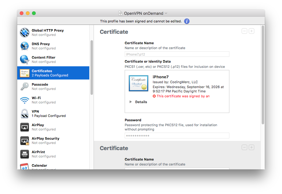 Apple Configurator  Certificates